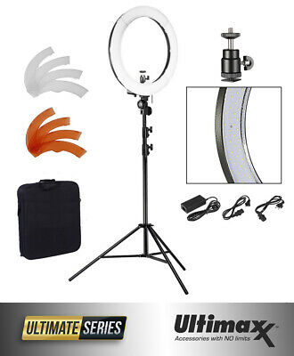 """ULTIMAXX 18"""" Dimmable LED Ring  Light  240 SMD 5600K Kit With Stand And Case NEW"""