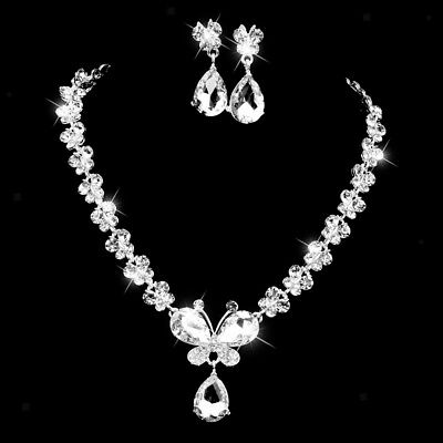 CRYSTAL BUTTERFLY & DROP PENDANT DIAMANTE Wedding Jewelry Necklace Earrings