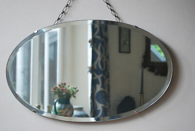 original art deco era bevel edged oval  frameless wall  mirror