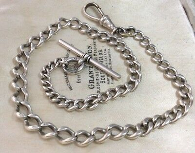 vintage Antique Sterling Silver Graduated Albert Watch Chain With 'T' Clasp