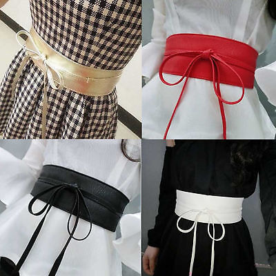 Womens Stretch Buckle Waist Belt Bow Wide Leather Elastic Corset Waistband GB09