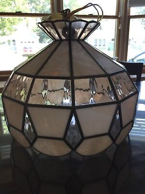 "Vintage Tiffany Style Stained Glass Hanging Ceiling Lamp 15"" Mauve/Beige"