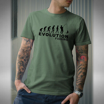 Evolution of Fishing Mens T-Shirt Funny Birthday Fathers Day River Angling