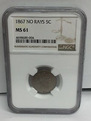 1867 Five Cent NO RAYS MS61