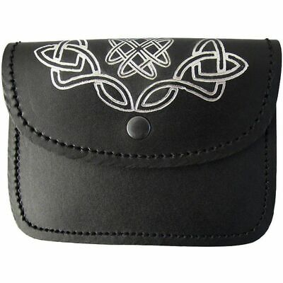 Black Kilt Belt Pouch With Celtic Embossed 100% Real  Leather Sporran /pouch 02