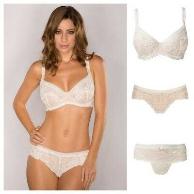 Pour Moi Love Lace Underwired Non Padded Bra, Short or Thong Cream/Caramel