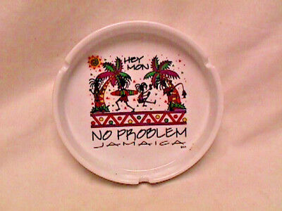 "Vtg 90s Ceramic JAMAICA ""Hey Mon"" ""No Problem"" ASH TRAY 420 weed pot summer exc!"