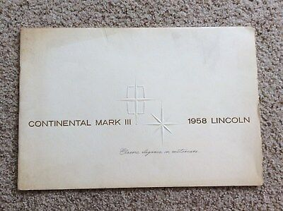 1958  Lincoln Continental mark III dealership deluxe color sales catalogue