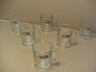 Lot of 6 Vintage A&W Root Beer Small Mini Baby Child Size Glass Mugs Oval Logo