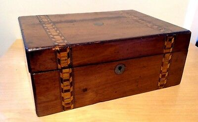 Antique Parquetry Box Pale rose wood  travelling jewellery sewing Box case