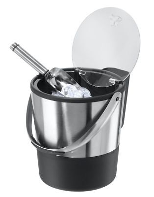 Double Wall Ice Bucket with Flip Lid and Stainless Ice Scoop Acrylic Flip Top