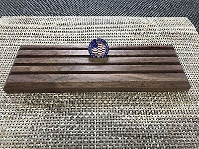 """Challenge Coin Display Solid Walnut 4 Row Military Coin Holder 12"""" Long Wood"""