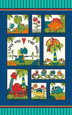 I Love You This Much Children's Fabric Dinosaur  Panel Henry & Glass 24x44""