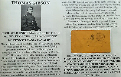 CIVIL WAR MOSBY'S RANGERS MAJOR 14th PA CAVALRY  SIGNED SOLDIERS LETTER COVER 64