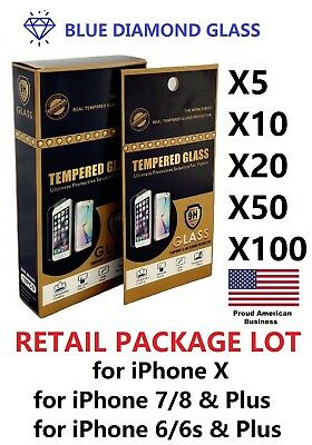 Lot 10 20 50 Tempered GLASS Screen Protector for Apple iPhone w/ Retail Package
