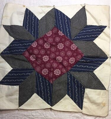 """ANTIQUE Cotton Quilt Block mid to late 1800's Fabrics 15&1/2"""" Great Prints"""