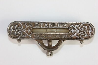 Antique STANLEY Cast Iron Pocket Level Pat. June 28, 1896 Fancy, Working