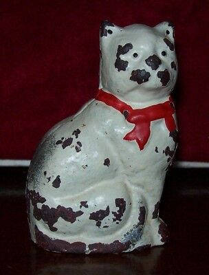 """Antique, Cast Iron Cat Bank, Original Paint, 4 1/4"""" Tall, 2 3/4"""" Wide, Unmarked"""