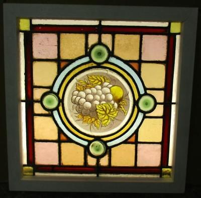 OLD ENGLISH LEADED STAINED GLASS WINDOW Nice Victorian Handpainted 18.25 x 18.5""