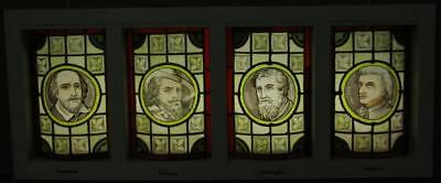 """Victorian LEADED STAINED GLASS WINDOW Handpainted Intellectuals 38.75"""" x 16"""""""