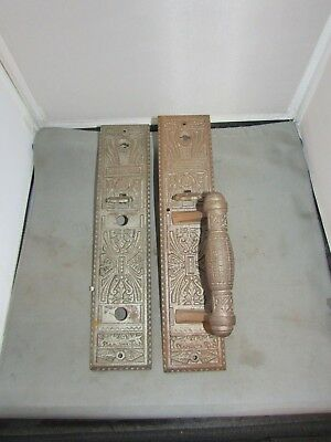 "VTG Pair Antique Door Handle Hardware Push Pull 12"" x 2.75"" Victorian Eastlake"