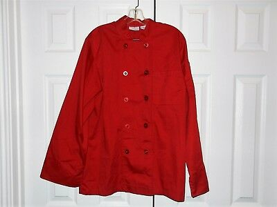 Women's Chef Works Sz M Red Top Uniform Culinary Restaurant