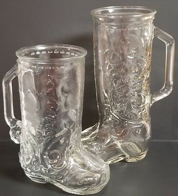 His and Hers Cowboy Western Boot Beer Mugs Glasses EUC Anniversary Wedding
