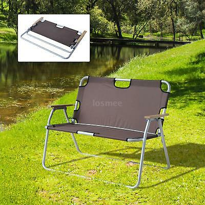 2 Person Folding Aluminum Love Seat Camping Chair Brown O3n7