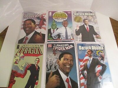 Barack Obama Comic Book Amazing Spider-Man Savage Dragon Variant Covers Lot of 6