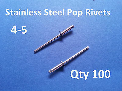 """100 POP RIVETS STAINLESS STEEL BLIND DOME 4-5 3.2mm x 11mm 1/8"""""""