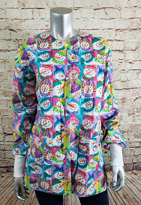 Landau Womens Size Small Scrubs Jacket Snowman Theme Snap Front Warm Up NEW