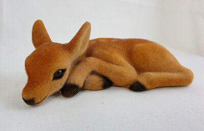 Vintage Flocked Fuzzy Baby Fawn Deer Spotted Laying Down