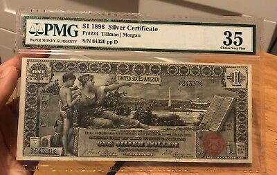 1896 $1 Silver Certificate Educational Note FR-224 PMG Graded VF35