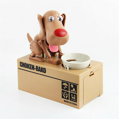 Kid Coin Bank Saving Box Puppy Hungry Robotic Dog Money Collection BROWN