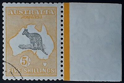Rare 1929- Australia 5/- Grey & Yellow Orange Kangaroo stamp SMWMK CTO Full gum