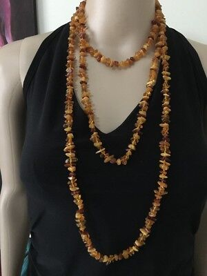 Very Long Baltic Amber Beads Necklace