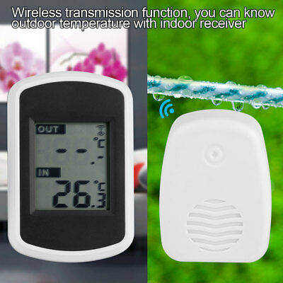 Digital Wireless Thermometer Transmitter +Receiver In/Outdoor Temp Meter Monitor
