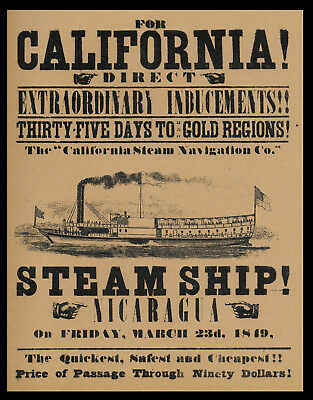 1849 California Gold Rush By Steamship Poster Reprint On 100 Year Old Paper P018