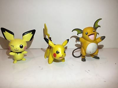 Pokemon Figures Pichu, Pikachu, Raichu lot