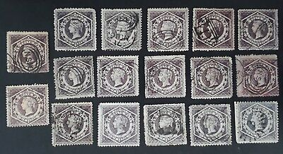 Rare 1860- NSW Australia lot of 17X 6d Violet Large Diadem Stamps Used Unchecked