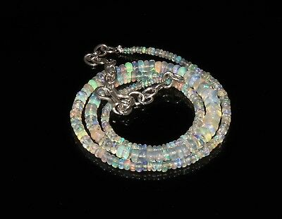 """35 Tcw 2-5 Mm16""""natural Genuine Ethiopian Welo Fire Opal Beads Necklace-F31322"""