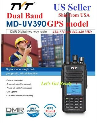 TYT MD-UV390 GPS IP67 Dual Band 144&430MHz DMR Digital/Analog Radio US Seller