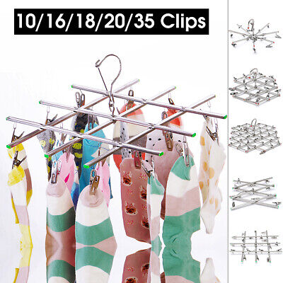 Foldable Clothes Hanger Dryer Airer Underwear Sock Laundry Rack Stainless Steel