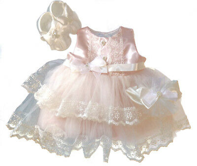 Baby Girls Occasion Christening Pink White Lace Dress Bow Shoes  Headband Outfit