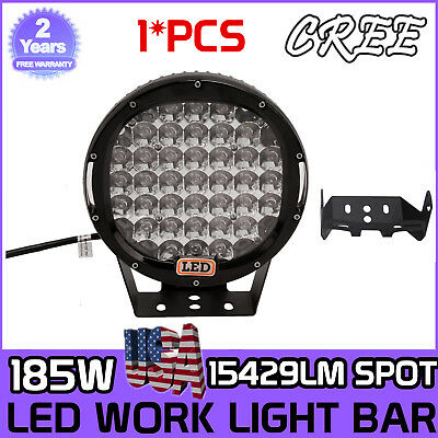 9inch 185W CREE LED Round Work Lights Spot Driving Head Light offroad Jeep SUV