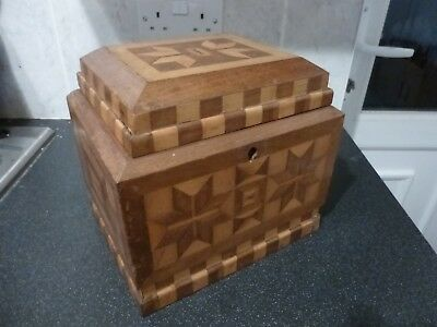 Vintage Antique Large Wooden Parquetry Inlay Box With Draw & Tray