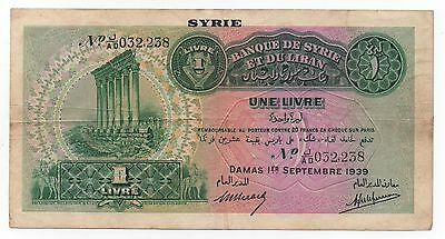Syria Syrie 1 Livre 1939 Pick 40 Look Scans