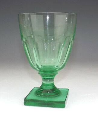 Antique English Green Glass - Square Footed Rummer - Unusual!