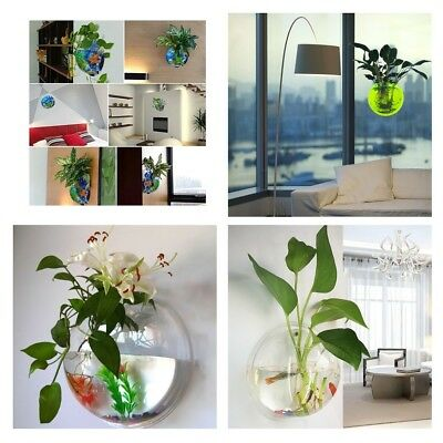 New Wall Mounted Fish Tank Bowl Bubble Aquarium Hanging Terrarium Goldfish Betta