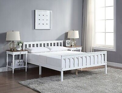 Home Treats Double Bed In White 4'6ft Solid Wooden Frame For Adults, Kids